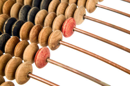Old mathematical calculator abacus made from wood and metal bars photo