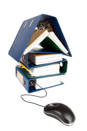 catalogs: House shape made from many business documents and catalogs Stock Photo
