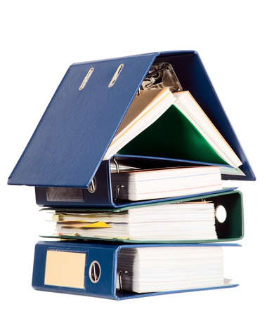 house property: House shape made from many business documents and catalogs Stock Photo