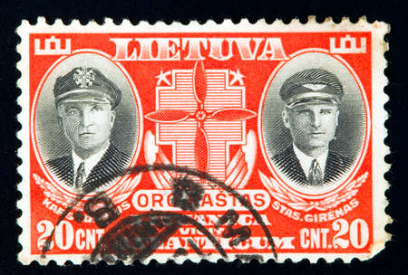 LITHUANIA - CIRCA 1934: stamp printed by Lithuania and shows heroes Darius and Girenas, circa 1934