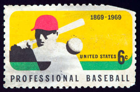 USA - CIRCA 1969: stamp printed by USA and shows professional baseball player, circa 1969