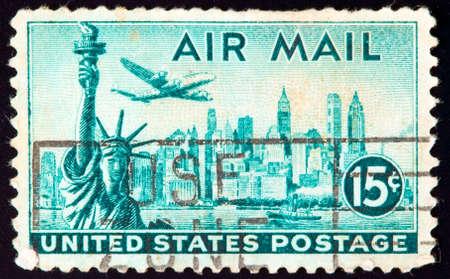 stamp collecting: USA - CIRCA 1941: stamp printed by USA and shows New York, circa 1941