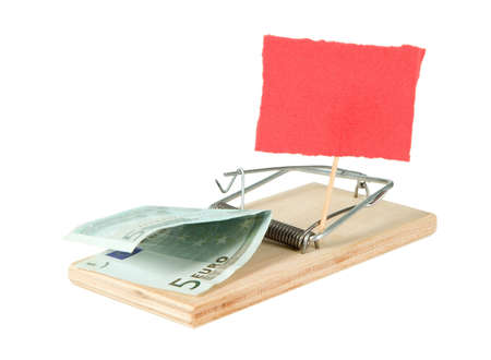 dead rat: A mouse trap with money and paper on it Stock Photo