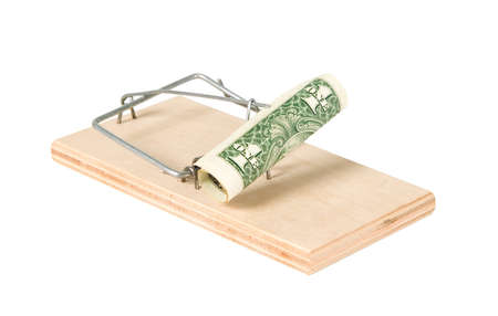 A mouse trap with money on it photo