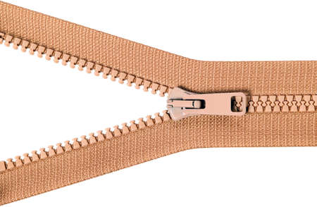 unzipped: Brown zip with metal teeth, unzipped, clothing industry
