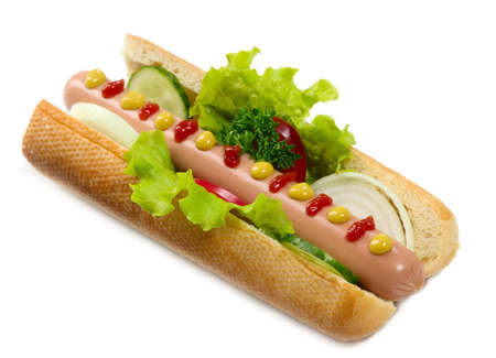 It is hot dog on isolated background, food concept photo