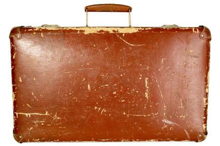 Vintage old brown suitcase on white isolated background photo