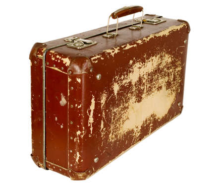 old suitcase: Vintage old brown suitcase on white isolated background Stock Photo