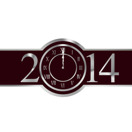 New year 2014 with clock instead number zero photo