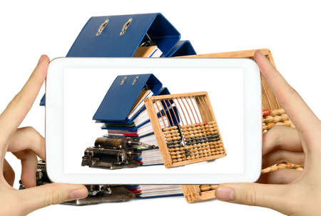Man is taking photo of documents with smart mobile phone photo
