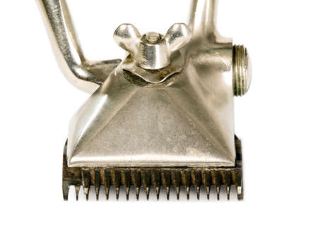 old vintage: Old vintage hair trimmer, made from metal Stock Photo