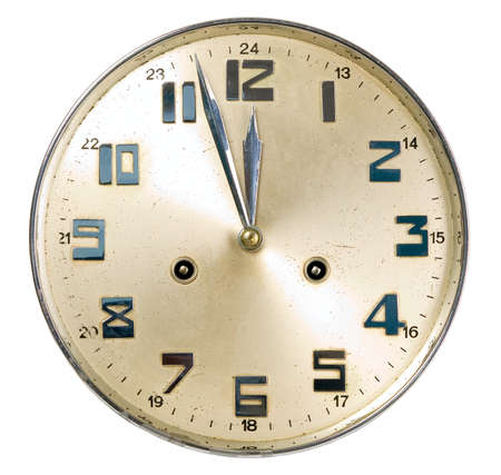 12: Golden watch is showing almost 12, isolated Stock Photo