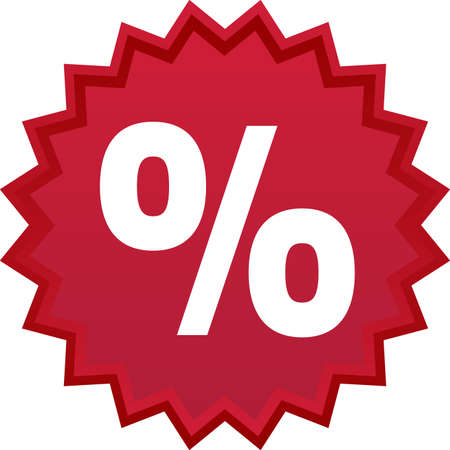 percentage sign: Red discount symbol, star with percentage inside Illustration