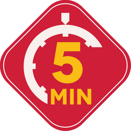 minutes: Icon of five minutes square time symbol, fast delivery