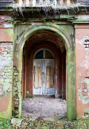 old doors: There is old vintage doors in ancient stone building Stock Photo