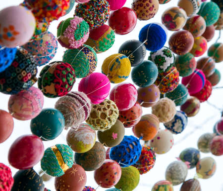 Easter decoration from colorful eggs placed like texture