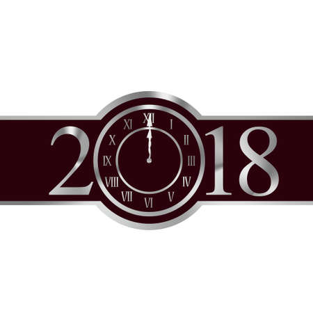 New year 2018 with clock instead number zero