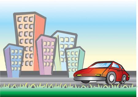 hoog gras: Een rode auto in de binnenstad Ruimte