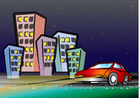 sleeping car: A Red Car over the Town Area - At Night View