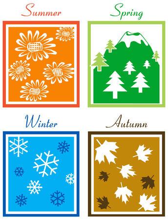 Four Season Illustration Vector