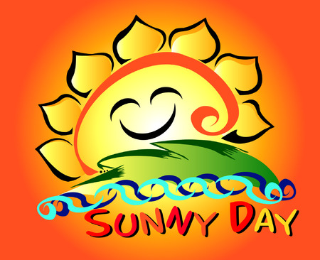 Sunny Day Cartoon Graphic (Abstract of Sunflower) Vector