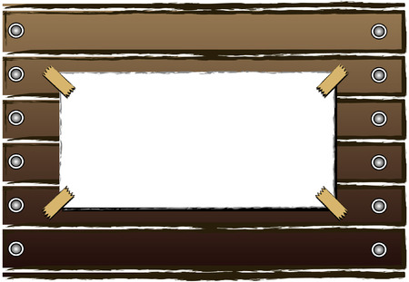 annoucement: A Blank Notice or Annoucement with wooden background Illustration