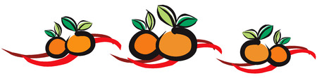 cartoon new: Chinese Mandarin Orange for Chinese New Year Celebration with Ribbon Background Illustration