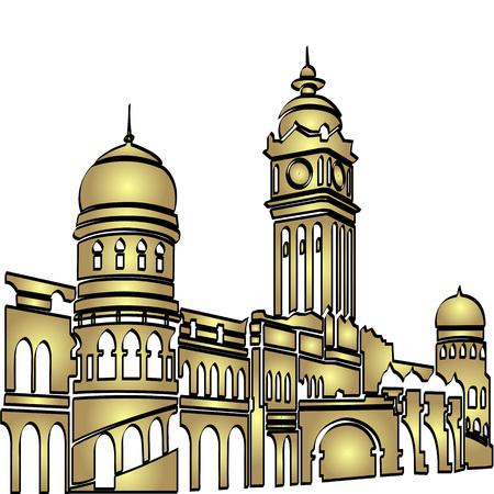 british culture: Malasia Kuala Lumpur estaci�n central de tren en color dorado