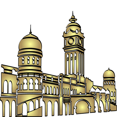lumpur: Malaysia Kuala Lumpur Central Train Station in Golden Color Illustration