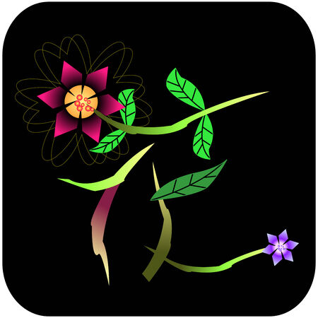 Abstract Flower - Chinese Word (Black Background) Vector