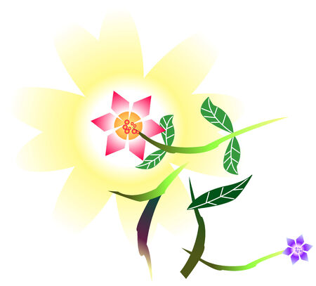 Abstract Flower - Chinese Word (White Background) Vector