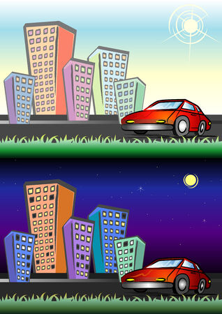 Cartoon Illustration City View on Day & Night Vector