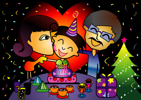 Birthday celebration during christmas with family Stock Vector - 3498076