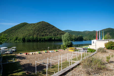 piediluco marmore lake in the province of terni 스톡 콘텐츠