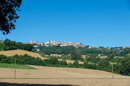 landscape of the country of todi seen from the highway exit Archivio Fotografico