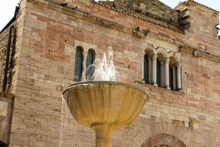 Fountain located in front of the church of San Silvestro in the town of Bevagna