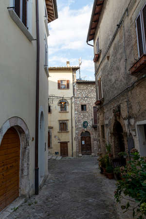 stroncone, italy september 11 2020: architecture of alleys and buildings in the country of stroncone