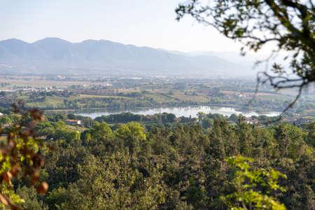 panorama of lake narni seen from the town of narni