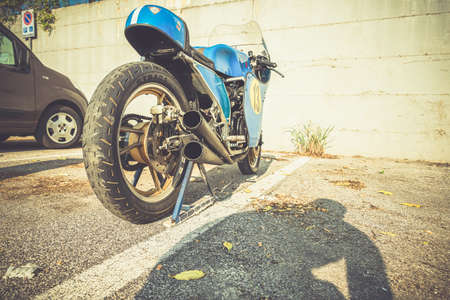TERNI, ITALY SEPTEMBER 18 2020: detail of a vintage Kawasaky 500 motorcycle