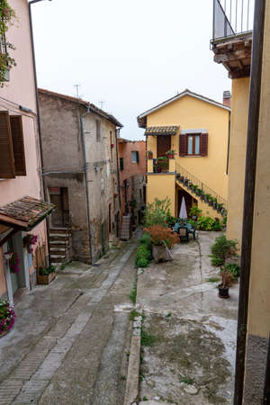acquasparta, italy september 21 2020: architecture of alleys and buildings in the town of Acquasparta