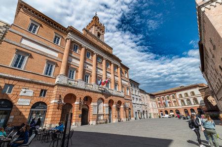 foligno, italy may 22 2021: church of san feliciano in foligno in the city center