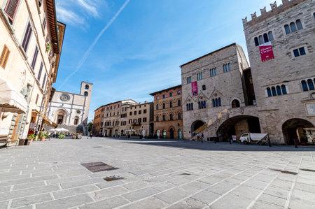 todi, italy june 11 2021: piazza del popolo in the center of the town of todi