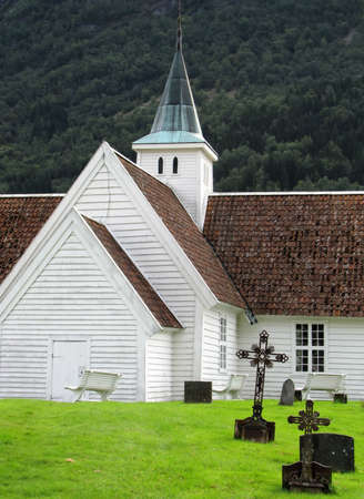 olden: Church and graveyard in Olden, Norway Stock Photo