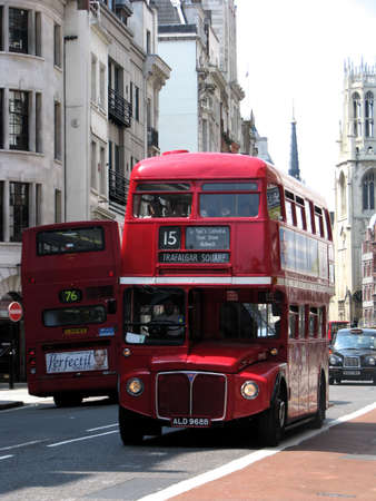 double decker: London, England: June 26, 2010 - Traditional red London Buses