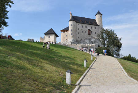 eagle nest rock: Bobolice, Poland - September 19, 2011 - View of renovated Bobolice Castle