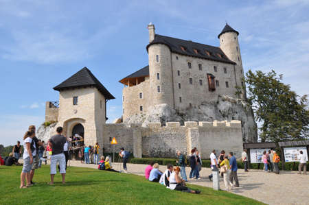 bobolice: Bobolice, Poland, September 19, 2011 - People admiring renovated castle of Bobolice
