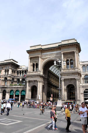Milan, Italy, July 19, 2011 - Crowds in front of Vittorio Emanuele II Gallery in Milan