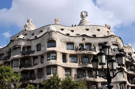 Barcelona, Spain - September 4, 2011: Front of the famous Casa Milla (La Pedrera) by Antoni Gaudi