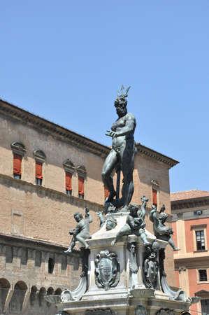 Fountain of Neptune  Fontana di Nettuno  of Bologna, Italy  Bronze Mannerist monument  photo