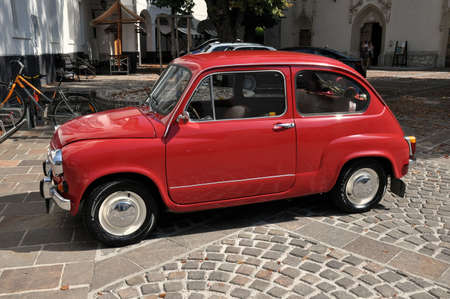 Radovljica, Slovenia - August 26th, 2012  The Zastava 750  almost known as Fico  was a car made by the Yugoslavian car maker Zavod Crvena Zastava  It was a version of the Fiat 600 made under licence from 1965, it was longer in length than the Fiat version